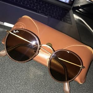 Round leather Ray-bans